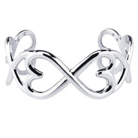 Sterling Silver Heart-To-Heart Cuff Bracelet  Custom Made in the USA