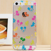 Cute Mickey Mouse Collage Cartoon TPU Transparent Soft Phone Back Case Shell Cover for iPhone 5 5S SE
