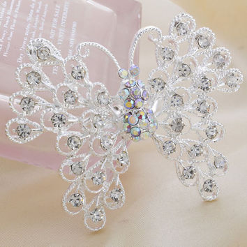 new arrived sell large  Fashion Alloy Silver Butterfly Rhinestone Brooch Crystal Women Brooches men Jewelry