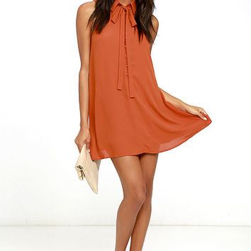 J.O.A. Tambourine Dream Rust Orange Swing Dress