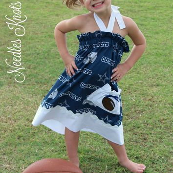 Girls Dallas Cowboys Cheerleader Dress, Baby Girls Football Game Day Dress, Tailgating
