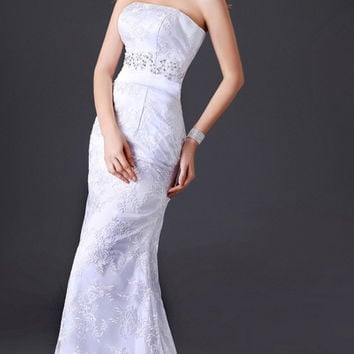 White Off-Shoulder Lace Ribbon Long Tail Wedding   Gown