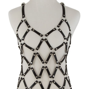 black faux leather strap body chain armor vest