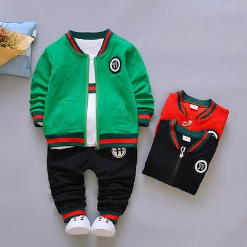 2018 Autumn Fashion Boys Set Coat T Shirt Pants 3PS Kids Clothes Casual Solid Toddler Boys Tracksuit Children Clothing Suit 1-5T