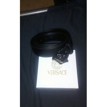 versace black medusa buckle black belt 125cm