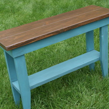 Sofa Table or Hall table.  Rustic and distressed.  Blue with antique glaze.  Beautiful Top.  Shabby Chic  plant stand
