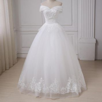 A-line Wedding Dress Off the Shoulder Sleeves Beaded Applique Bridal Wedding Gowns