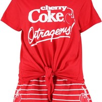 Lola Cherry Coke Tie Front PJ Short Set | Boohoo