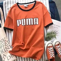 PUMA Summer Black/Red Edge Women Men Tee Shirt B-YF-MLBKS Orange