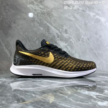 HCXX N1008 Nike Air Zoom Structure 35 Scaly breathable mesh Running Shoes Black Gold