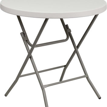 Flash Furniture Portable Indoor Outdoor Cocktail Reception Multipurpose Criss Cross Legs Round Granite White Plastic Folding Table 32""""