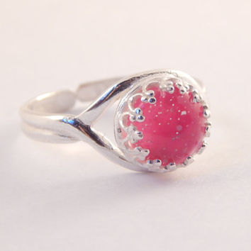 Moon Dust Sterling Silver Mood Ring - Pinks