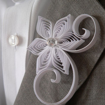 White Boutonniere, White Buttonhole, White Wedding Boutonniere, Wedding Boutonniere