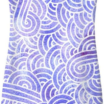 Lavender and white swirls doodles Simple Dress
