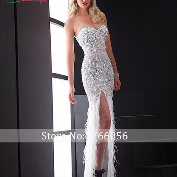 New Designer Real Photo Sexy Sweetheart Beaded Feathers Mermaid Prom Dress 2016 Crystal Luxury Pearls Vestido De Festa Plus Size