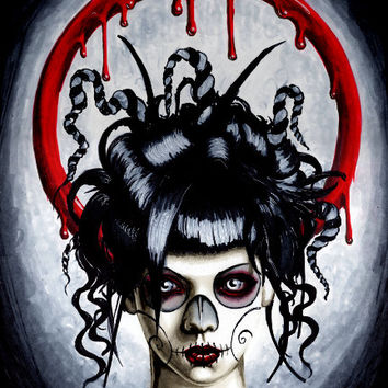Day of the Dead portrait of Apnea limited ed print 11x14
