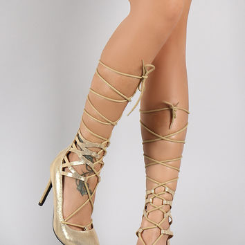 Breckelle Metallic Lattice Sides Lace Up Pointy Toe Pump