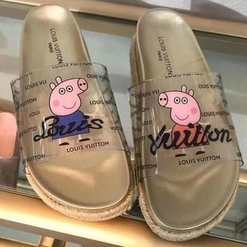 LV Louis Vuitton & Pig Pecs Joint Series Summer Fashion Women's Slippers F-RCSTXC