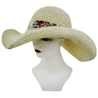 STRAW WITH WIRE AND FLOWER BOW DESIGN FLOPPY SUN HAT