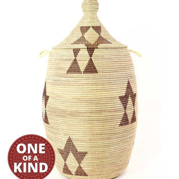 Extra Large Woven African Hamper with Lid