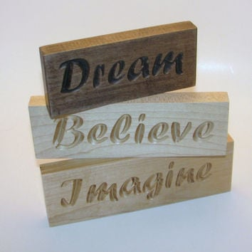 Inspirational Wood Signs Word Art Set  Dream Believe Imagine
