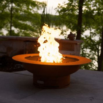 Saturn Steel Fire Pit with Lid by Fire Pit Art