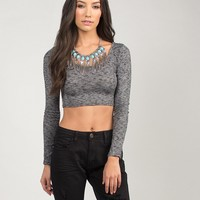 Stretchy Knitted Long Sleeve Crop Top