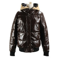 Coffee Hooded Zippered Quilted Coat