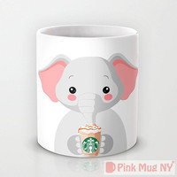 Personalized mug cup designed PinkMugNY- I love Starbucks - Elephant