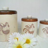 Rustic Ransburg Roosters ToleWare Round Metal Nesting Canisters Set - Vintage Hand Painted Roosters on Ivory Enamel Cans & Copper Color Lids