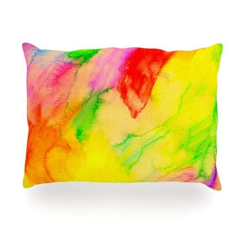 "Sreetama Ray ""Chemical Lovestory"" Watercolor Oblong Pillow"