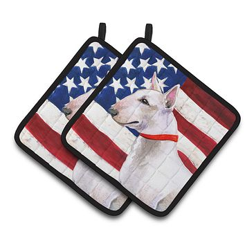 Bull Terrier Patriotic Pair of Pot Holders BB9693PTHD