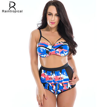 Floral Print High Waist Swimsuit Push Up Bikini Plus Size