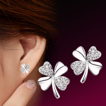 Screw-back Romantic Silver Cubic Zirconia Stud Earrings For Women Er22-3