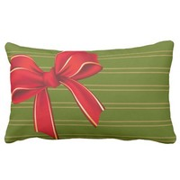 Xmas Palette: Green w/ Red Bow Pillows