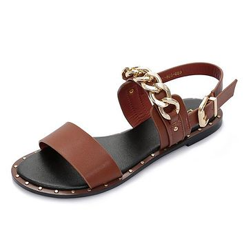 New Fashion Leather Sandals women Summer Ladies Dress shoes woman with Metal Chain Beach Shoes Flat Sandals