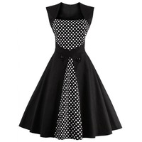 Retro Polka Dot Square Neck Swing Dress