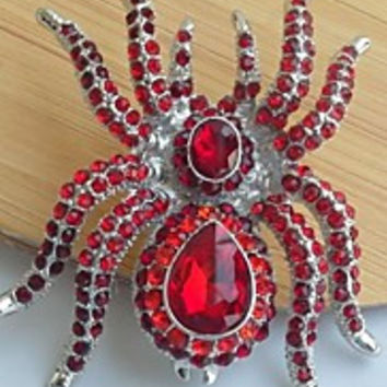 Unique 2.36 Inch Silver-tone Red Rhinestone Crystal Spider Brooch Art Deco Halloween Jewelry