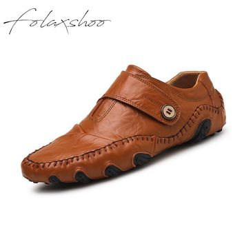 Folaxshoo Genuine Leather Rubber Loafers Slip-on Mens Shoes Casual Men Loafers Breathable Mens Casual Slip On Shoes Men Shoes 47