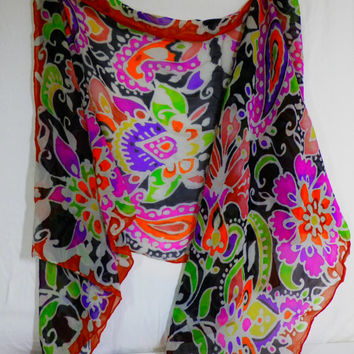 "23"" x  70"" oblong chiffon paisley scarf in vibrant multi -color with black background"