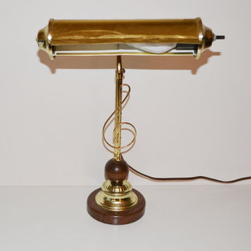 Vintage Piano Lamp Treble Clef Music Lamp Mid Century Modern Piano Lamp Wood and Brass Lamp