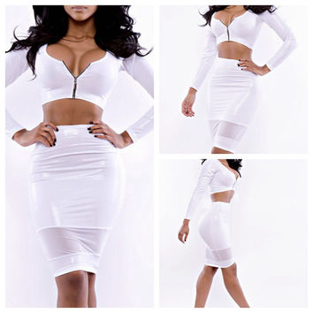 White Zip Long Sleeve Cropped Top and Bodycon Skirt Set