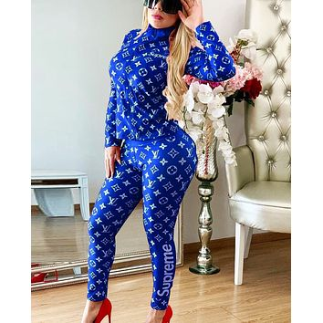 LV Louis Vuitton Fashion Women Print Top Sweater Pants Trousers Set Two-Piece Sportswear Blue