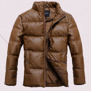 Sell Like Hot Cakes  2017 Winter Men's New Fashion Feather Cultivate One's Morality Short Coat    /M-XXXXL