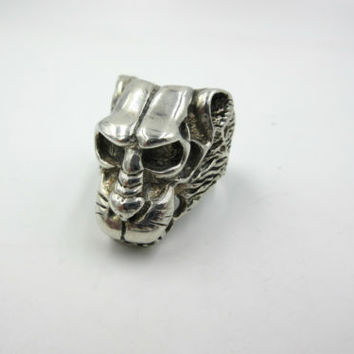 Vintage Baboon Animal Sterling Silver Large Chunky Mens Ring size 9.5