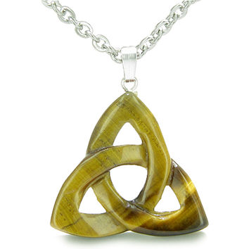 Celtic Triquetra Knot Magic Amulet Tiger Protection Powers Pendant 18 Inch Necklace