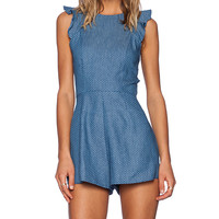 OH MY LOVE Ruffle Playsuit in Blue