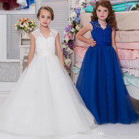 Cheap Lace Arabic 2017 Royal Blue Flower Girl Dresses for Weddings Ball Gown Tulle Little Girls Pageant Dress Party Gown F295