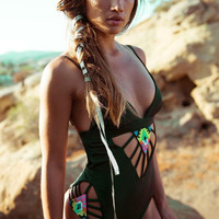 Black Cut Out Spaghetti Strap One-Piece Swimsuit
