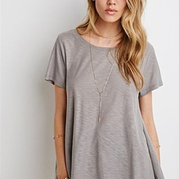 Plain Loose Cotton Short Sleeve T-Shirt